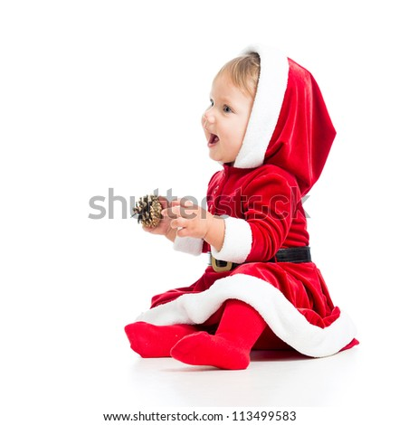 Santa Claus baby girl side view isolated on white background - stock photo