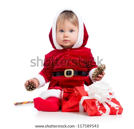 Santa Claus baby girl with gift box isolated on white background - stock photo