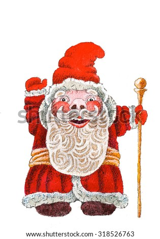 Santa Claus beard magic new year Christmas red outfit gifts children happiness watercolor art - stock photo