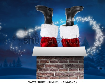 Santa claus boots against night sky over forest - stock photo