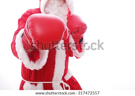 Santa Claus boxing Isolated on white background. - stock photo