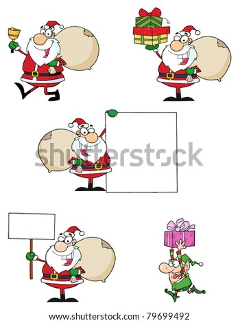 Santa Claus Cartoon Characters-Raster Collection - stock photo
