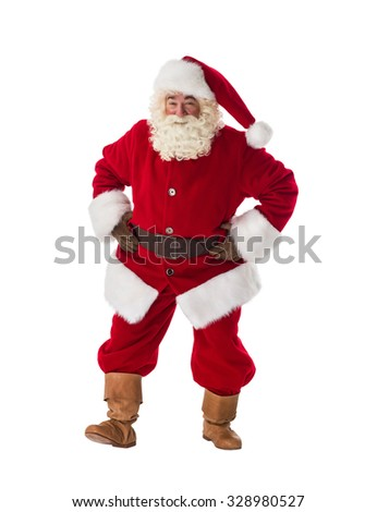 Santa Claus dancing curiously Full-Length Portrait - stock photo