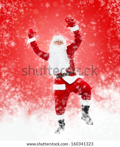 Santa Claus dancing full length over red christmas background abstract winter snow, hold hand up dance with raised arms, concept of happy new year - stock photo