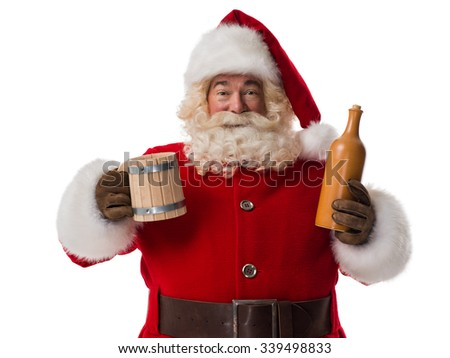 Santa Claus drinking beer Closeup Portrait Isolated on White Background - stock photo
