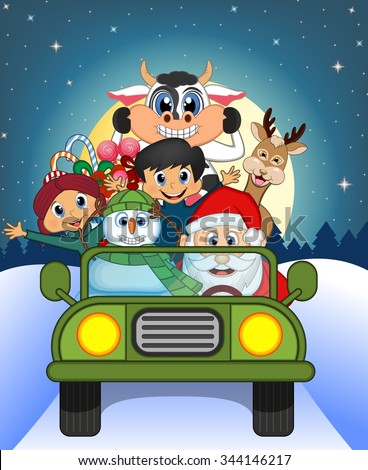 Santa Claus Driving a Green Car Along With Reindeer, Snowman And Brings Many Gifts With Full Moon At Night Background For Your Design Illustration - stock photo
