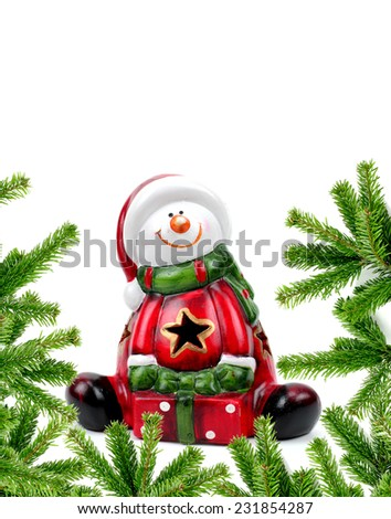 Santa Claus figurine isolated over white background - stock photo