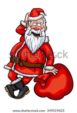Santa Claus flirting. Illustration Santa Claus with a sack. - stock photo