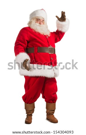 Santa Claus gesturing his hand isolated over white background. Presenting something. Full length portrait - stock photo