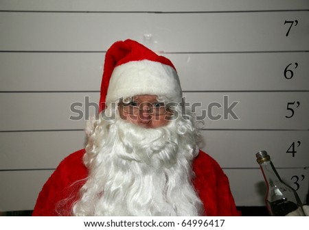 "Santa Claus gets a DUI ""driving while intoxicated"" - stock photo"