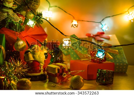 Santa claus hold bell and heart light, Ornament decorate Merry Christmas and happy new year - stock photo