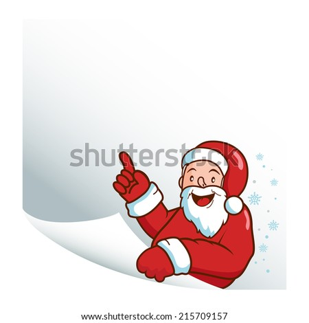 Santa Claus holding a blank piece of paper and pointing up. Vector version also available in my gallery. - stock photo