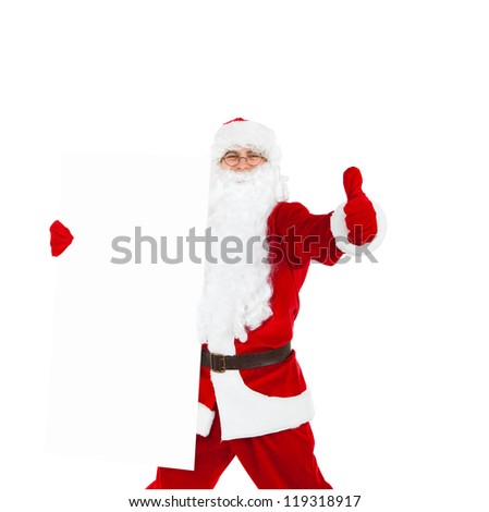 Santa Claus holding Banner show thumb up finger gesture, white board with blank empty copy space for Text isolated over white background, concept of christmas new year sale shopping - stock photo