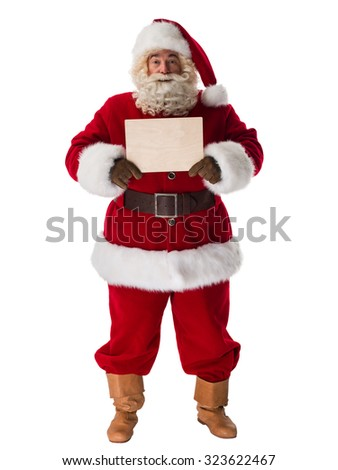 Santa Claus  holding blank sign Portrait Isolated on White Background - stock photo