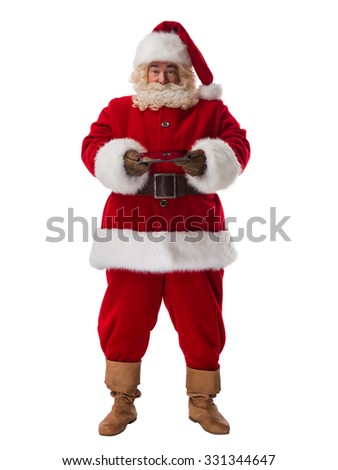 Santa Claus holding tablet computer Full Length Portrait. Isolated on White Background - stock photo