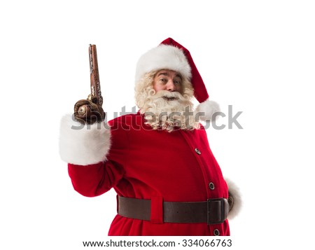 Santa Claus  holding vintage gun Closeup Portrait. Isolated on White Background - stock photo