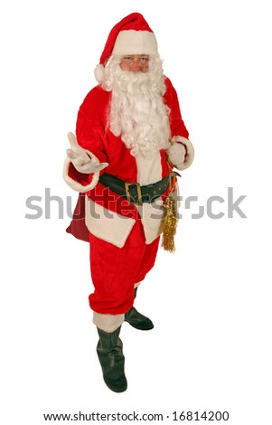 Santa Claus holds his hand out to You The Viewer isolated on white - stock photo