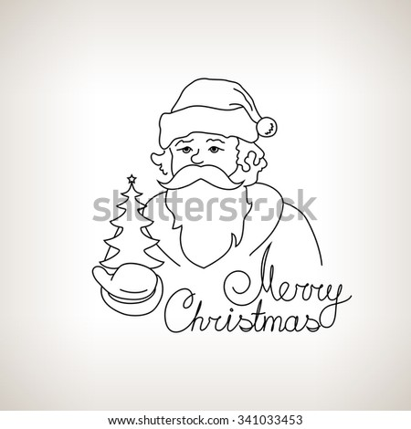Santa Claus Holds in a Hand Christmas Tree, Merry Christmas  , Noel  on a Light Background , Christmas Decoration, Drawing in Linear Style , Black and White Illustration - stock photo