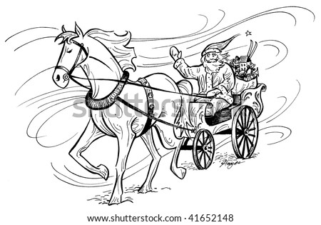 santa horse buggy coloring pages - photo#5