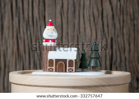 Santa-Claus in wood house  - stock photo