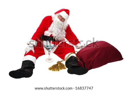 Santa Claus is Passed out Drunk anti drinking concepts santa says no to booze - stock photo