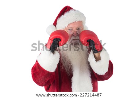 Santa Claus is ready to fight on white background - stock photo