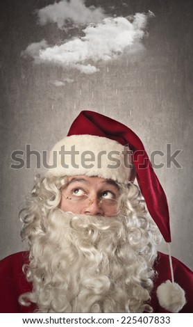 Santa Claus is thinking of something  - stock photo