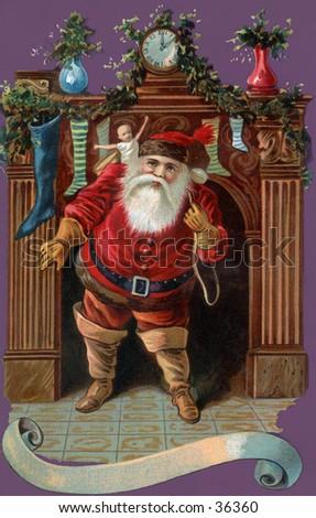 Santa Claus makes his entrance - an early 1900s vintage illustration. - stock photo
