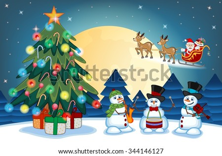 Santa Claus Moving On The Sledge With Reindeer And Brings Many Gifts with christmas tree and snowman Playing Saxophone, drums And Violin With Full Moon At Night Illustration - stock photo