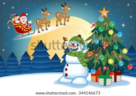 Santa Claus Moving On The Sledge With Reindeer And Brings Many Gifts with christmas tree and snowman With Full Moon At Night - stock photo