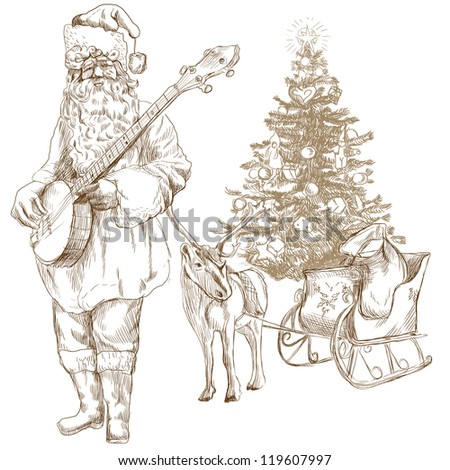 Santa Claus musician - he goes to play Christmas Carols on the Banjo. Full-sized (original) hand drawing. Technique: digital tablet. Number of colors: hundreds. - stock photo