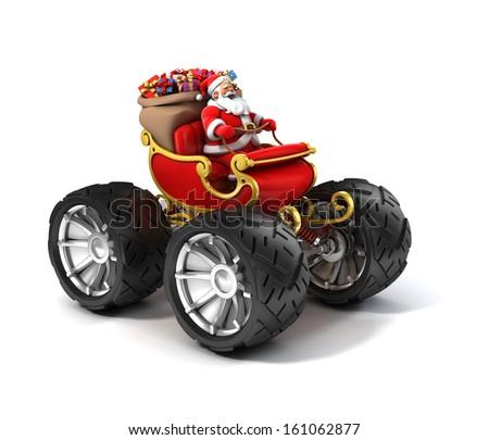 Santa Claus on sleigh with big wheels - stock photo