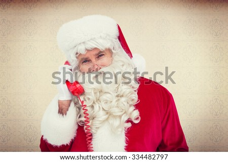 Santa claus on the phone against room with wooden floor - stock photo