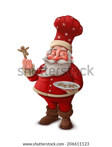 Santa Claus pastry cook with gingerbread man cookies - stock photo