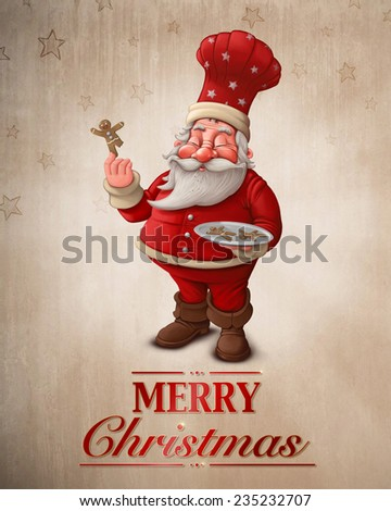 Santa Claus pastry cook with gingerbread man cookies greeting card - stock photo