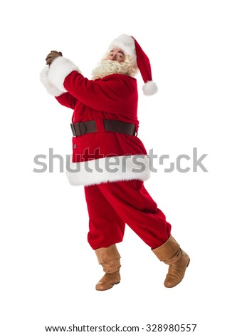 Santa Claus playing fake golf Full-Length Portrait - stock photo