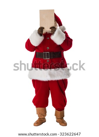 Santa Claus Portrait hiding his face behind blank sign Isolated on White Background - stock photo
