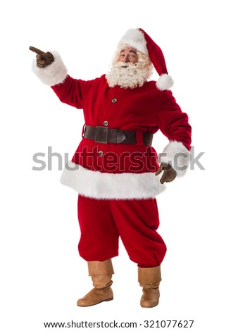 Santa Claus Portrait. Pointing at copyspace - stock photo
