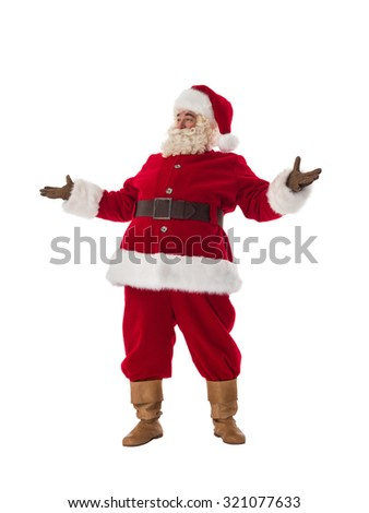 Santa Claus Portrait. Standing with hands open - stock photo