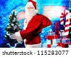 Santa Claus posing with presents over Christmas background. - stock photo