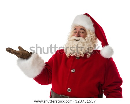 Santa Claus presenting new product Portrait Isolated on White Background - stock photo