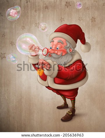 Santa Claus put the gift box in to the soap bubbles - stock photo