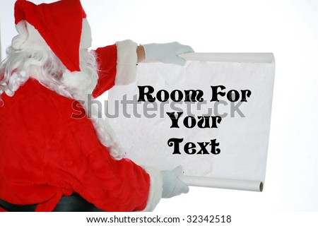 Santa Claus reads from his list with room for your text isolated on white - stock photo