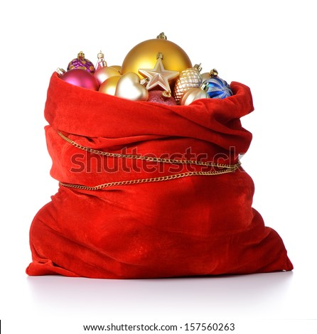 Santa Claus red bag with Christmas toys on white background. File contains a path to isolation.  - stock photo