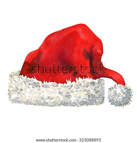 Santa Claus red hat isolated, watercolor painting on white background - stock photo