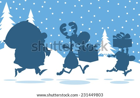 Santa Claus,Reindeer And Elf Running In Christmas Night  Silhouettes Design Card. Raster Illustration  - stock photo