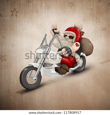 Santa Claus rides a motorcycle for delivery the gifts - stock photo