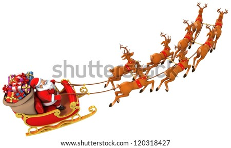 Santa Claus rides reindeer sleigh on Christmas - stock photo