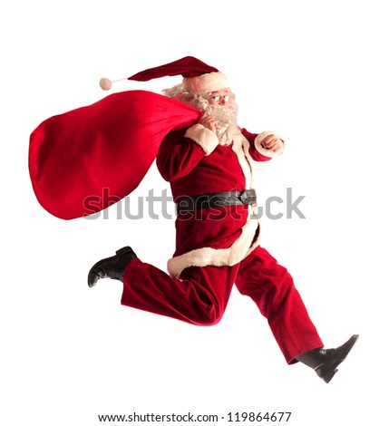 Santa Claus running - stock photo