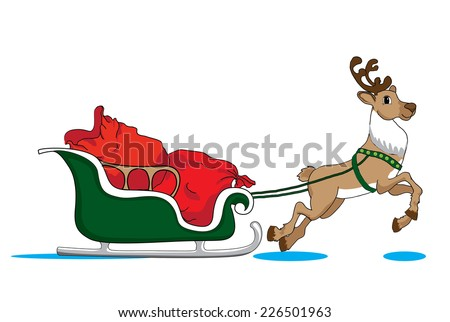 Santa Claus's reindeer with green sleigh deliver Christmas gifts - stock photo